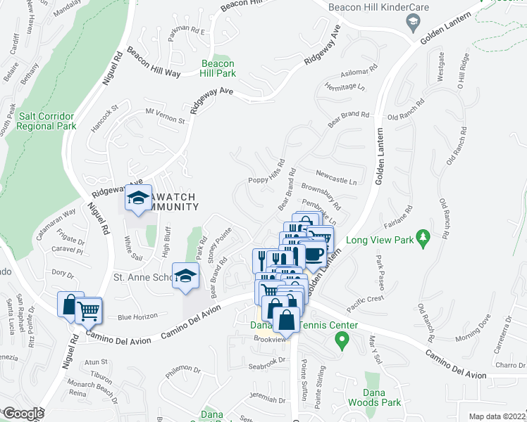 map of restaurants, bars, coffee shops, grocery stores, and more near 16 Carmel Woods in Laguna Niguel