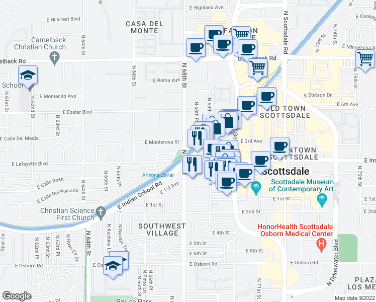map of restaurants, bars, coffee shops, grocery stores, and more near Arizona Canal Trail in Scottsdale