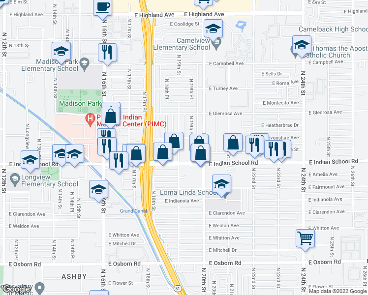 map of restaurants, bars, coffee shops, grocery stores, and more near 1920 East Indian School Road in Phoenix