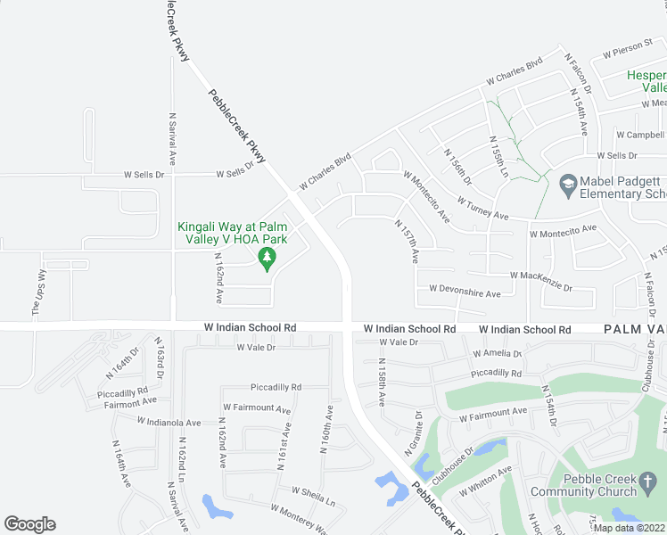map of restaurants, bars, coffee shops, grocery stores, and more near 4200 North Pebble Creek Parkway in Goodyear