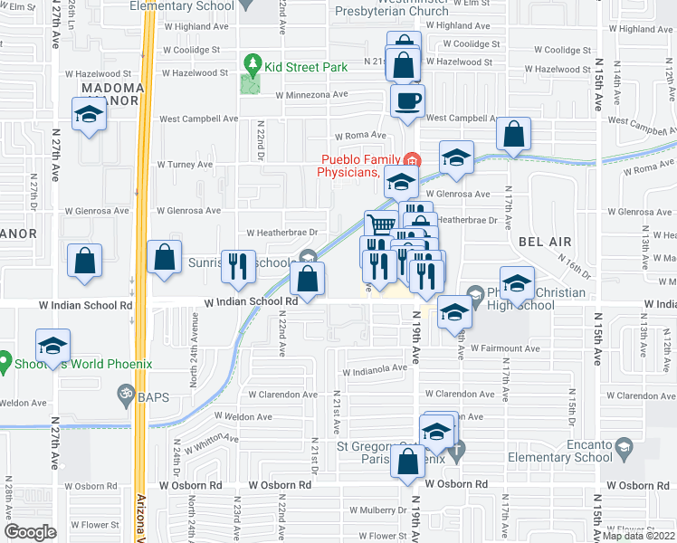 map of restaurants, bars, coffee shops, grocery stores, and more near 2028 West Indian School Road in Phoenix
