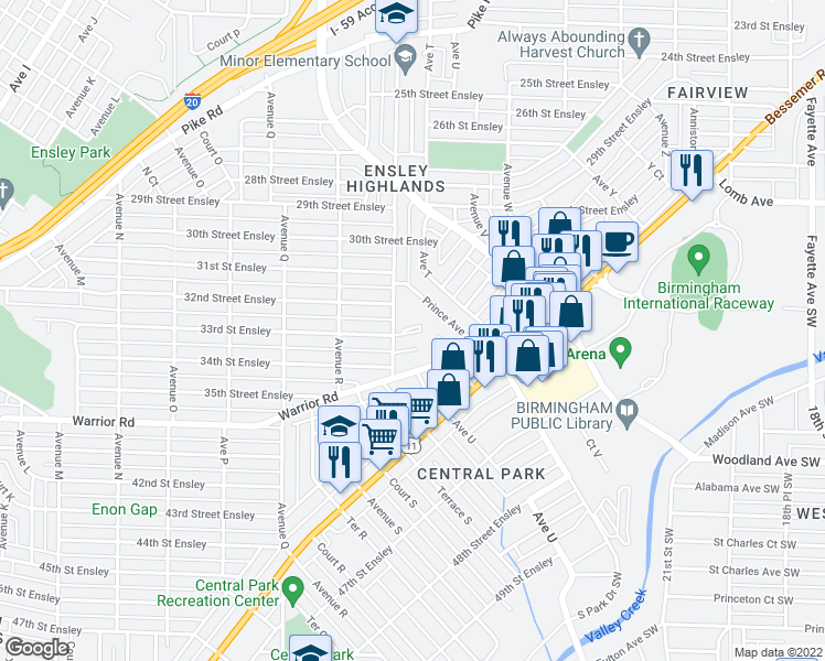 map of restaurants, bars, coffee shops, grocery stores, and more near 3225 Avenue South in Birmingham
