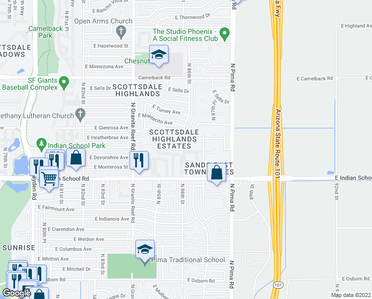 map of restaurants, bars, coffee shops, grocery stores, and more near 8606 East Mackenzie Drive in Scottsdale