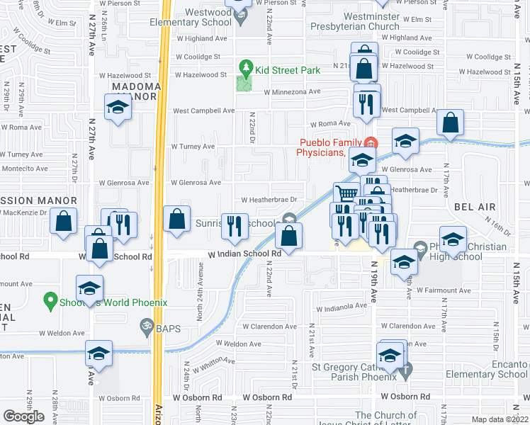 map of restaurants, bars, coffee shops, grocery stores, and more near 2210 West Devonshire Avenue in Phoenix