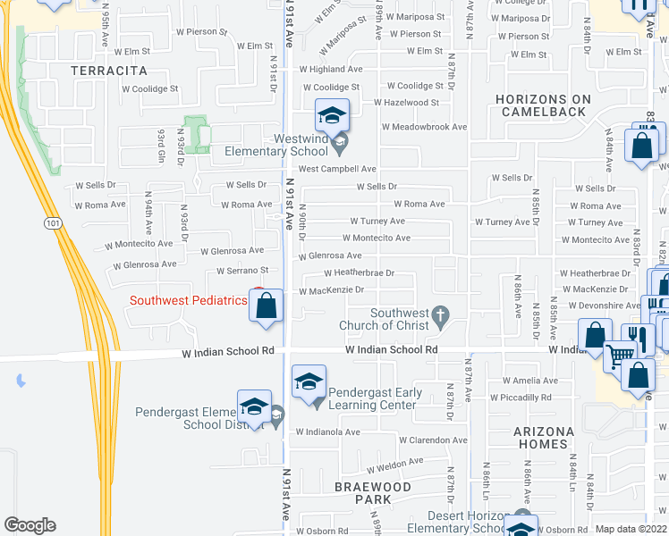 map of restaurants, bars, coffee shops, grocery stores, and more near 8948 West Heatherbrae Drive in Phoenix