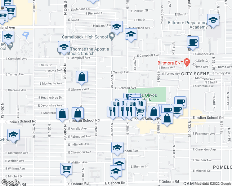 map of restaurants, bars, coffee shops, grocery stores, and more near 4237 North 27th Street in Phoenix