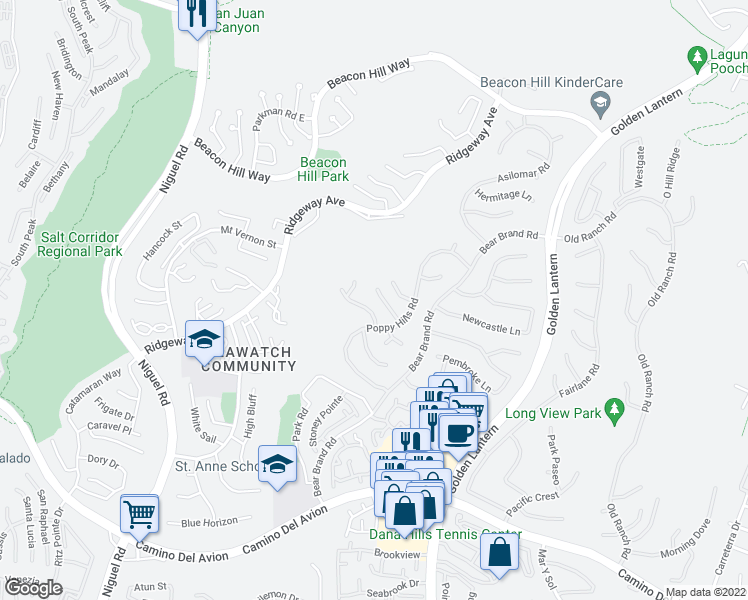 map of restaurants, bars, coffee shops, grocery stores, and more near 10 Fern Canyon in Laguna Niguel