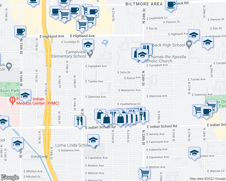 map of restaurants, bars, coffee shops, grocery stores, and more near 4301 North 21st Street in Phoenix