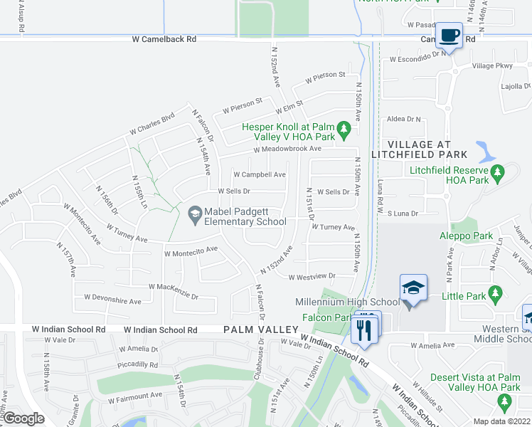 map of restaurants, bars, coffee shops, grocery stores, and more near 15305 West Roma Avenue in Goodyear