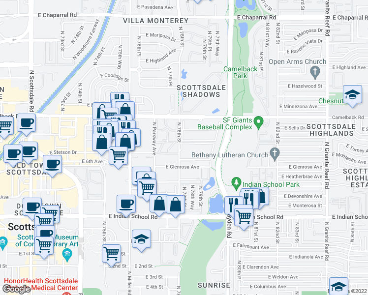 map of restaurants, bars, coffee shops, grocery stores, and more near 4343 North 78th Street in Scottsdale