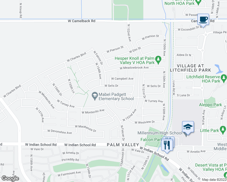 map of restaurants, bars, coffee shops, grocery stores, and more near 15352 West Roma Avenue in Goodyear
