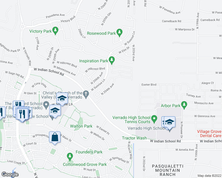 map of restaurants, bars, coffee shops, grocery stores, and more near 4691 North 204th Avenue in Buckeye
