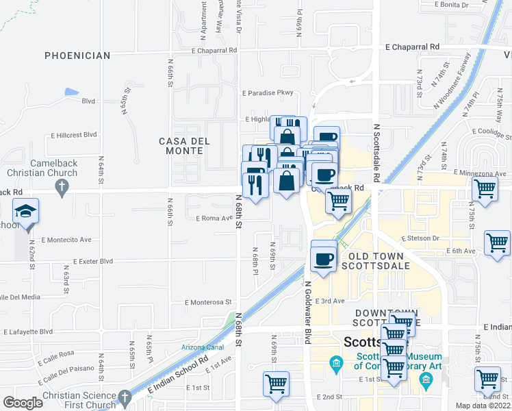 map of restaurants, bars, coffee shops, grocery stores, and more near 6895 East Camelback Road in Scottsdale