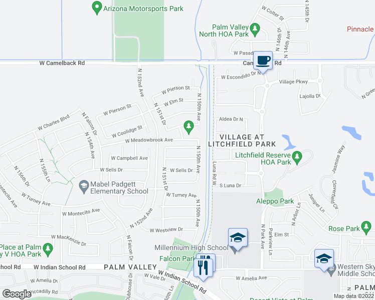 map of restaurants, bars, coffee shops, grocery stores, and more near 15057 West Minnezona Avenue in Goodyear