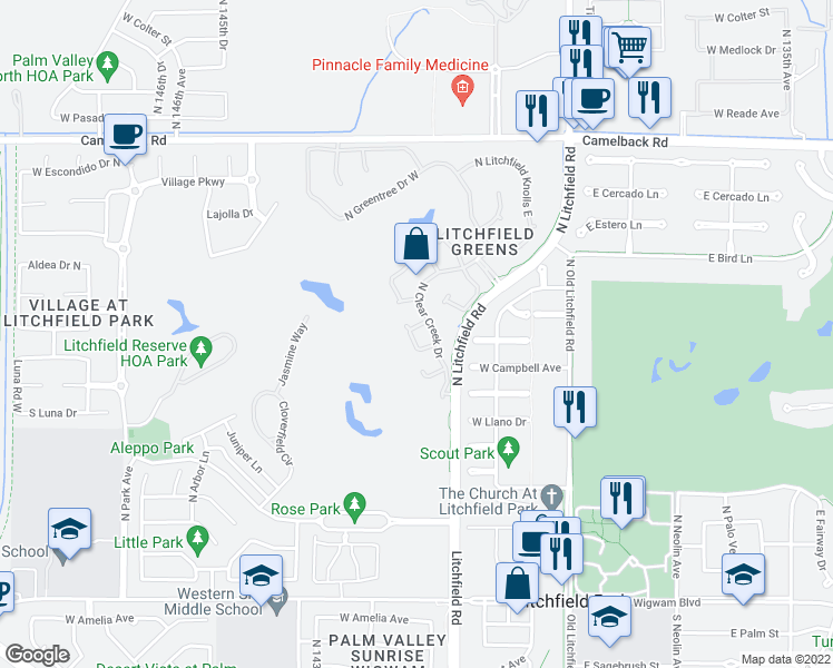 map of restaurants, bars, coffee shops, grocery stores, and more near 14137 West Bent Tree Circle in Litchfield Park