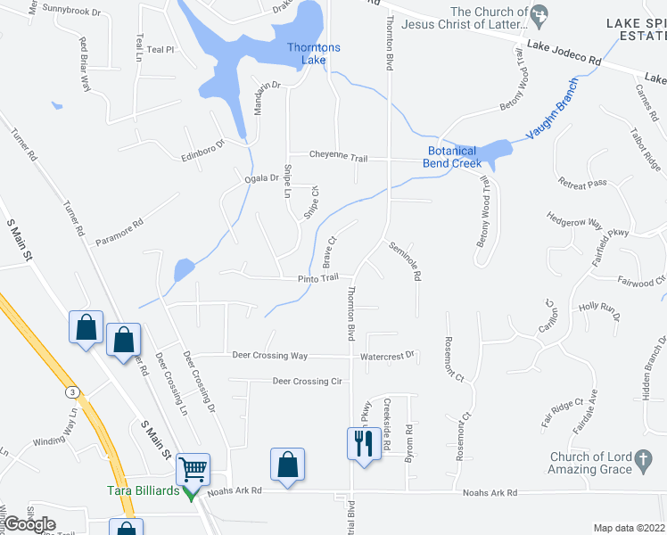 map of restaurants, bars, coffee shops, grocery stores, and more near 9261 Brave Court in Jonesboro