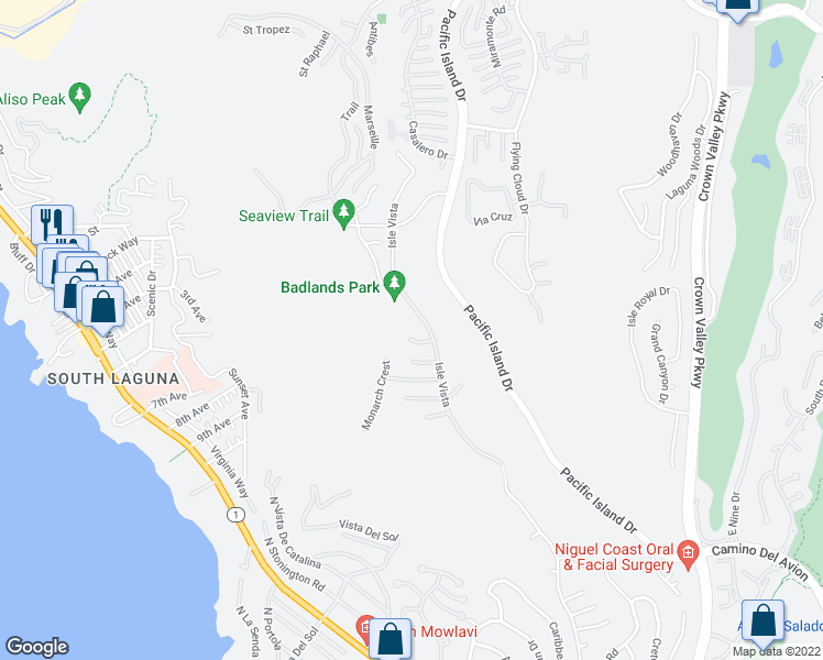map of restaurants, bars, coffee shops, grocery stores, and more near 22781 Channel View in Laguna Niguel