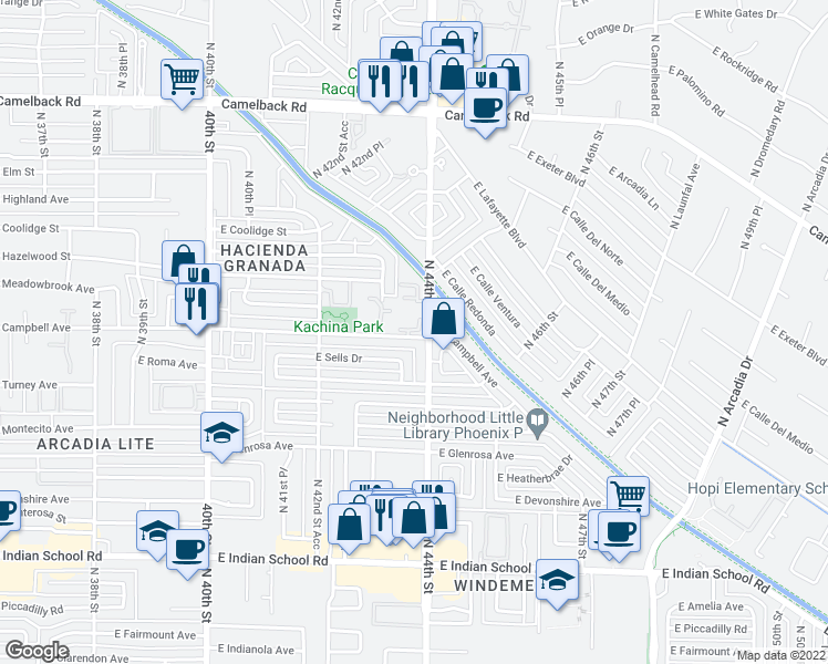 map of restaurants, bars, coffee shops, grocery stores, and more near 4304 East Campbell Avenue in Phoenix