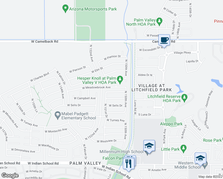 map of restaurants, bars, coffee shops, grocery stores, and more near 15124 West Minnezona Avenue in Goodyear