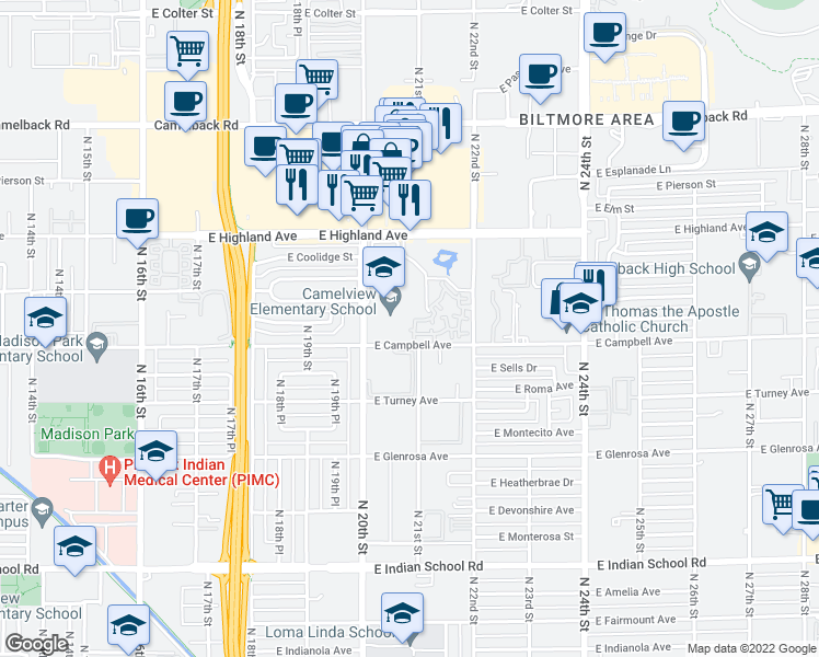 map of restaurants, bars, coffee shops, grocery stores, and more near 4644 North 22nd Street in Phoenix