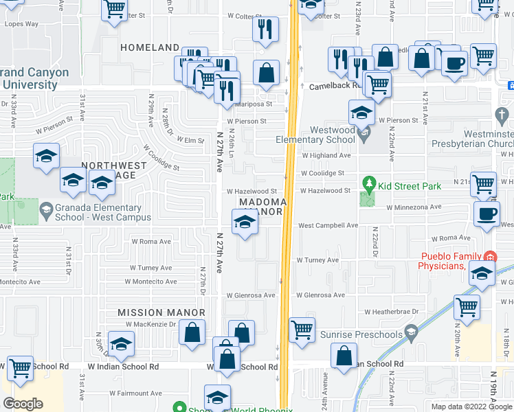map of restaurants, bars, coffee shops, grocery stores, and more near 2544 West Campbell Avenue in Phoenix