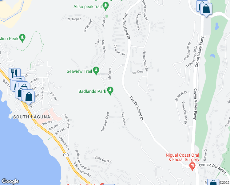 map of restaurants, bars, coffee shops, grocery stores, and more near 31662 Isle Vista in Laguna Niguel