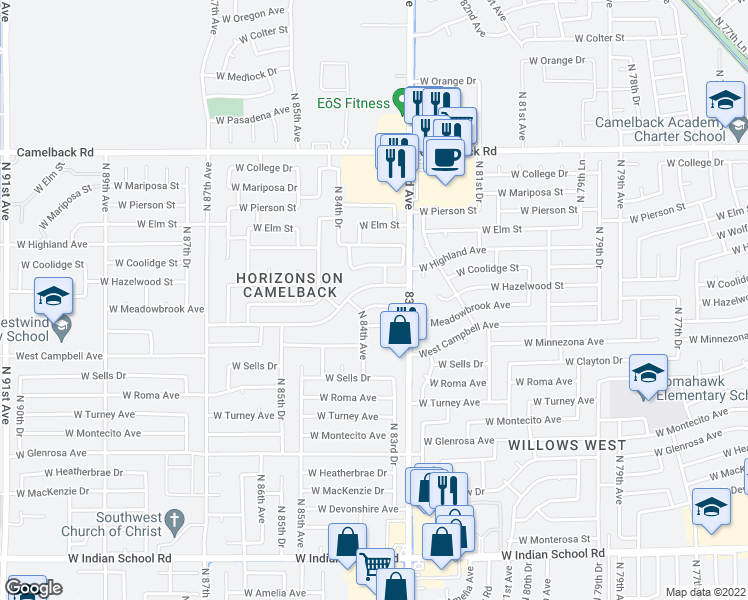 map of restaurants, bars, coffee shops, grocery stores, and more near 8330 West Baxter Drive in Phoenix