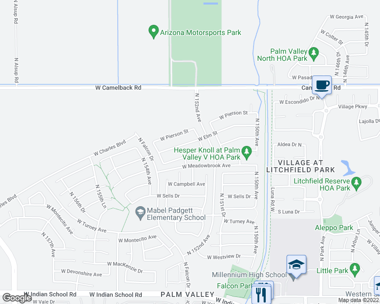 map of restaurants, bars, coffee shops, grocery stores, and more near 15268 West Coolidge Street in Goodyear