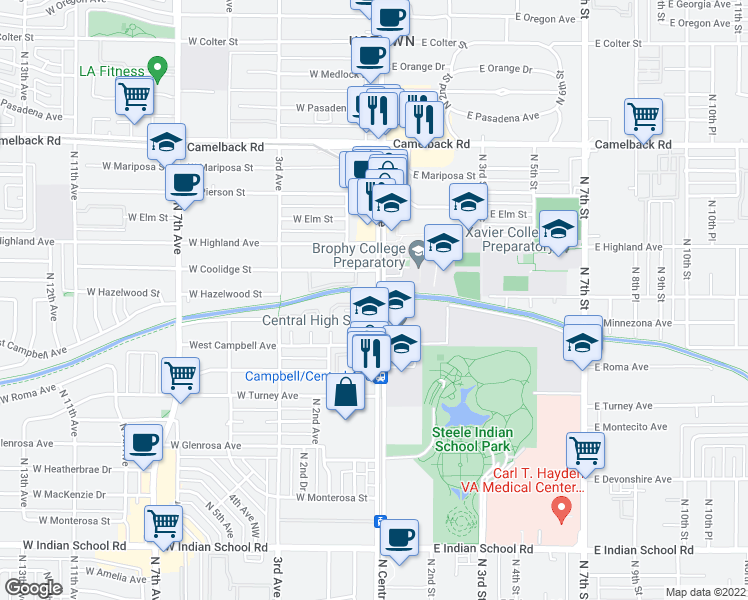 map of restaurants, bars, coffee shops, grocery stores, and more near 10 West Minnezona Avenue in Phoenix