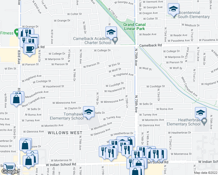 map of restaurants, bars, coffee shops, grocery stores, and more near 7649 West Coolidge Street in Phoenix