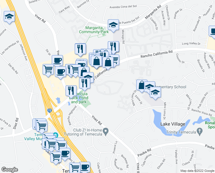 map of restaurants, bars, coffee shops, grocery stores, and more near Center Street in Temecula