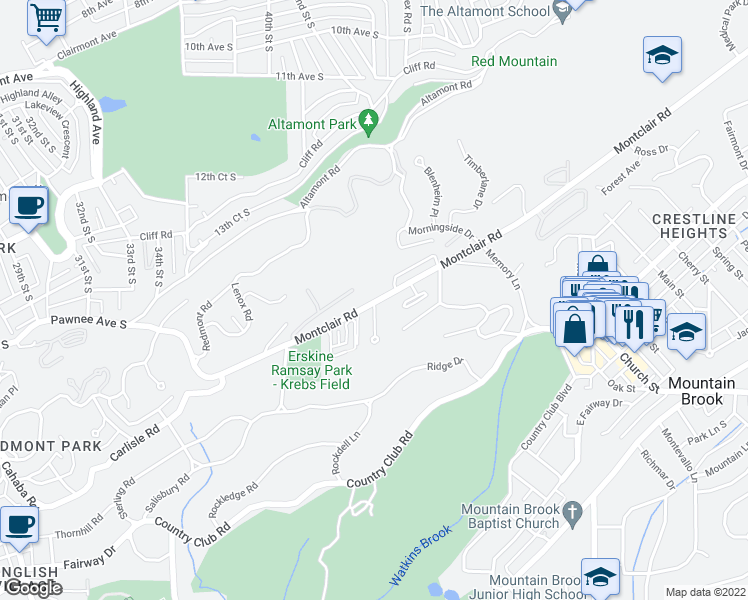 map of restaurants, bars, coffee shops, grocery stores, and more near 3800 Montclair Road in Birmingham