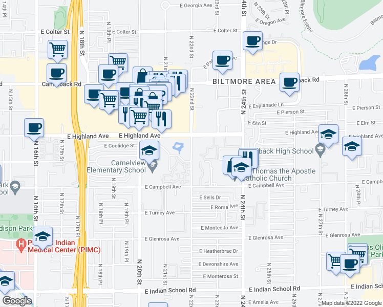 map of restaurants, bars, coffee shops, grocery stores, and more near West 21st Street in Phoenix