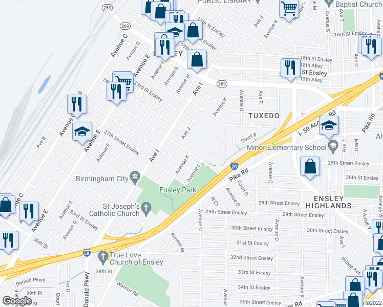 map of restaurants, bars, coffee shops, grocery stores, and more near 2517 Avenue K in Birmingham