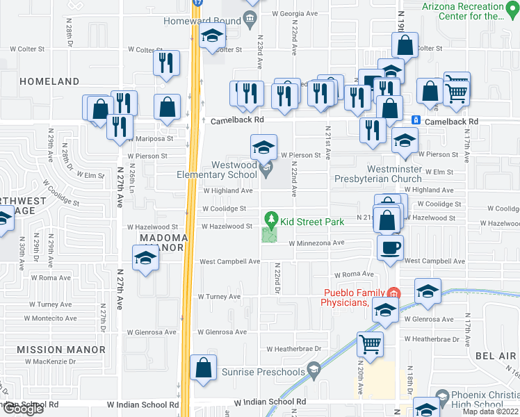 map of restaurants, bars, coffee shops, grocery stores, and more near North 23rd Avenue & West Coolidge Street in Phoenix