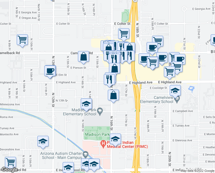 map of restaurants, bars, coffee shops, grocery stores, and more near 4626 North 16th Street in Phoenix