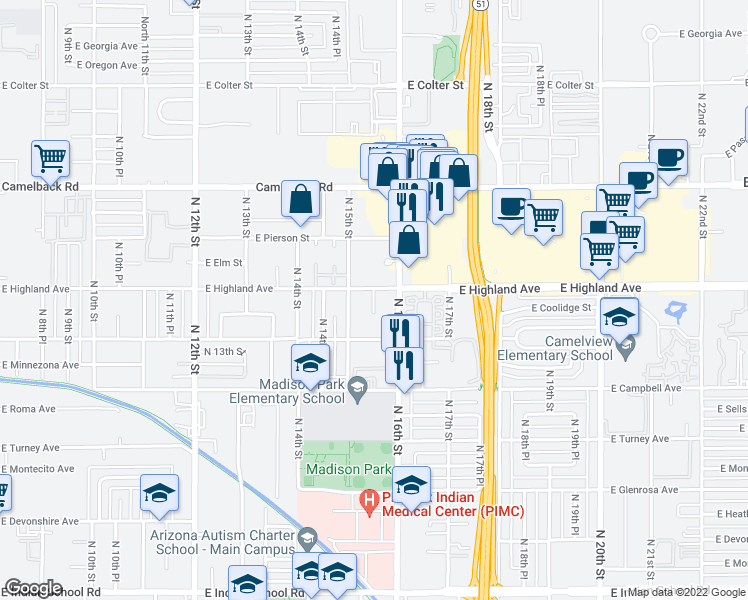 map of restaurants, bars, coffee shops, grocery stores, and more near 1601 East Highland Avenue in Phoenix