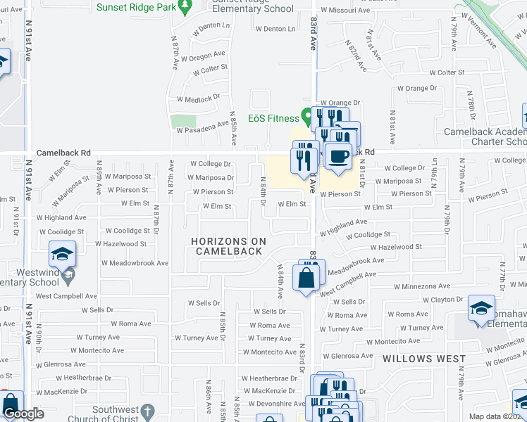 map of restaurants, bars, coffee shops, grocery stores, and more near 8420-8448 West Highland Avenue in Phoenix