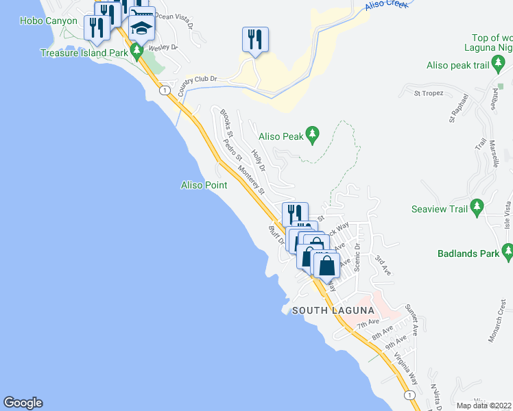 map of restaurants, bars, coffee shops, grocery stores, and more near 31423 Coast Highway in Laguna Beach