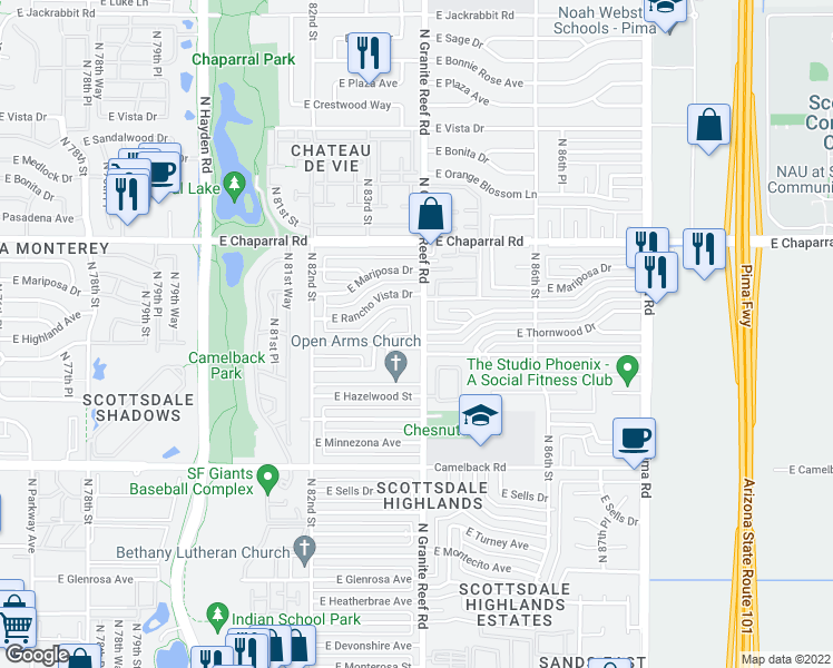 map of restaurants, bars, coffee shops, grocery stores, and more near 4732 North Granite Reef Road in Scottsdale