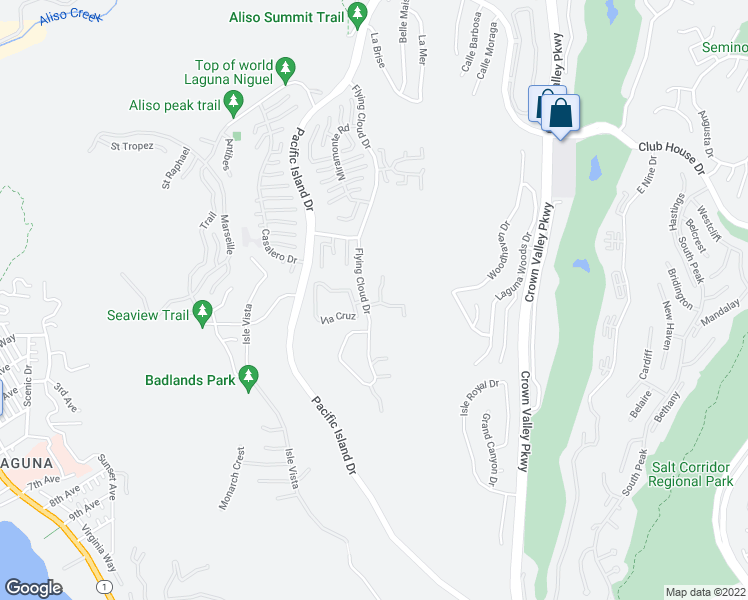 map of restaurants, bars, coffee shops, grocery stores, and more near 31356 Flying Cloud Drive in Laguna Niguel