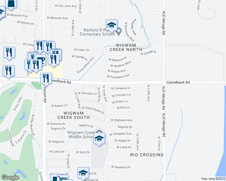 map of restaurants, bars, coffee shops, grocery stores, and more near 12623 West Campina Drive in Litchfield Park