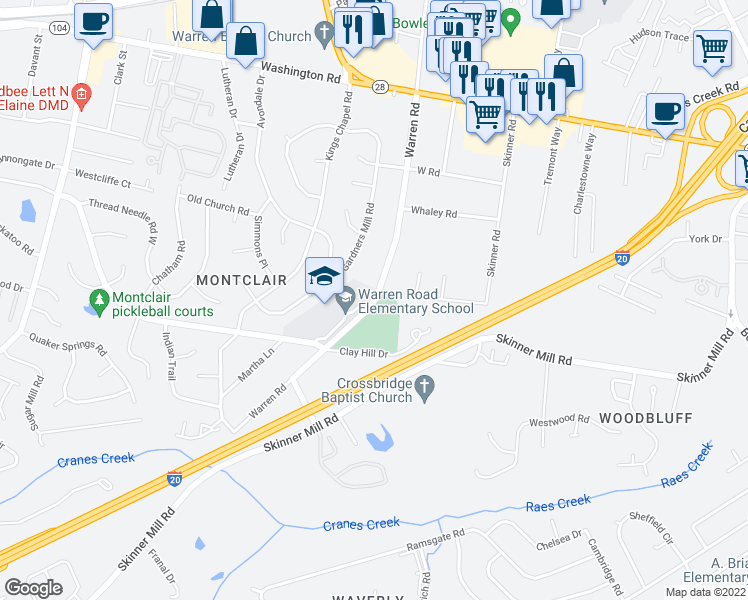 map of restaurants, bars, coffee shops, grocery stores, and more near 216 Warren Road in Augusta