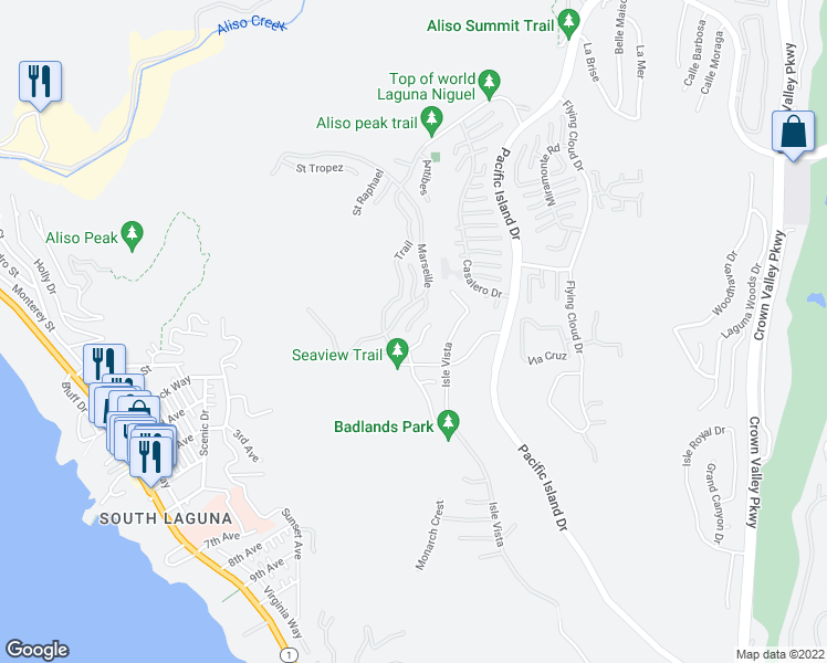 map of restaurants, bars, coffee shops, grocery stores, and more near 31 Toulon in Laguna Niguel