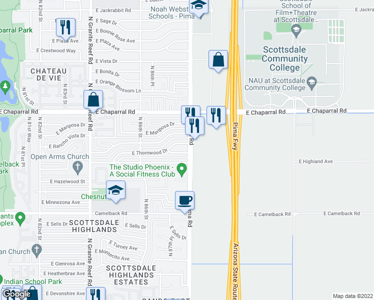 map of restaurants, bars, coffee shops, grocery stores, and more near 8748 East Terrace Drive in Scottsdale