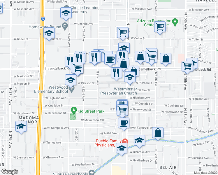 map of restaurants, bars, coffee shops, grocery stores, and more near West Elm Street in Phoenix