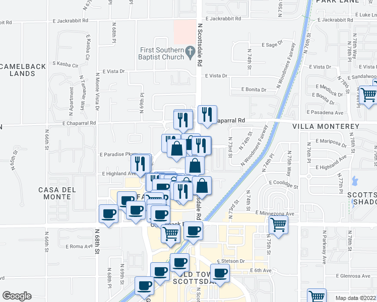 map of restaurants, bars, coffee shops, grocery stores, and more near 7161 East Rancho Vista Drive in Scottsdale
