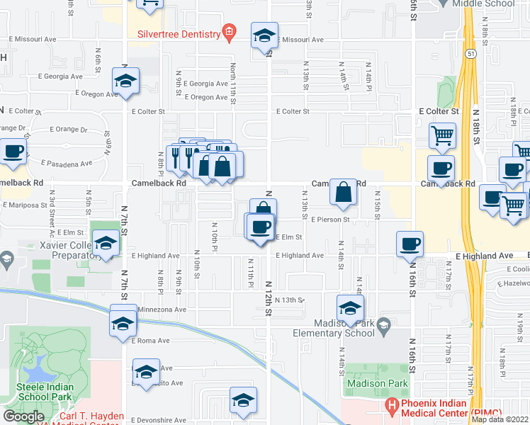 map of restaurants, bars, coffee shops, grocery stores, and more near 4802 North 12th Street in Phoenix