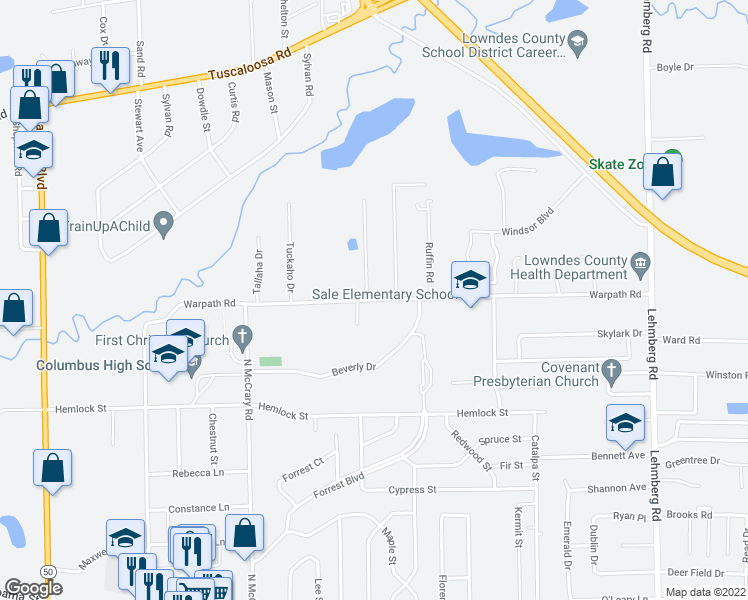 map of restaurants, bars, coffee shops, grocery stores, and more near 902 Clardy Drive in Columbus