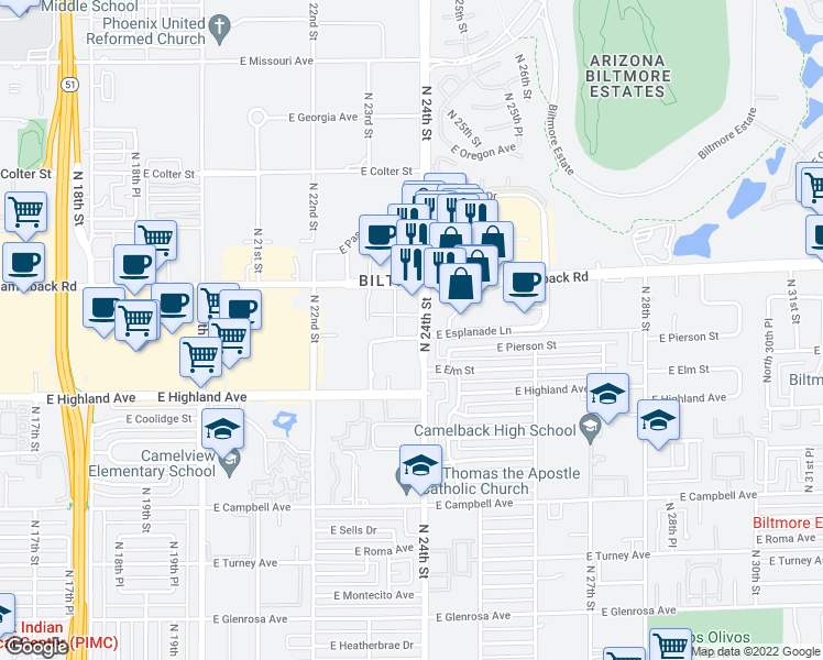 map of restaurants, bars, coffee shops, grocery stores, and more near 2375 East Camelback Road in Phoenix